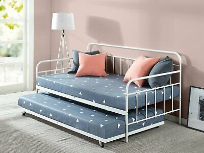Details About White Metal Daybed Frame Twin Bed With Trundle Kids
