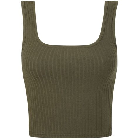 Miss Selfridge Rib Square Neck Top ($8.69) ❤ liked on Polyvore featuring tops, khaki, sale, ribbed top, miss selfridge, rib top, khaki top and miss selfridge tops