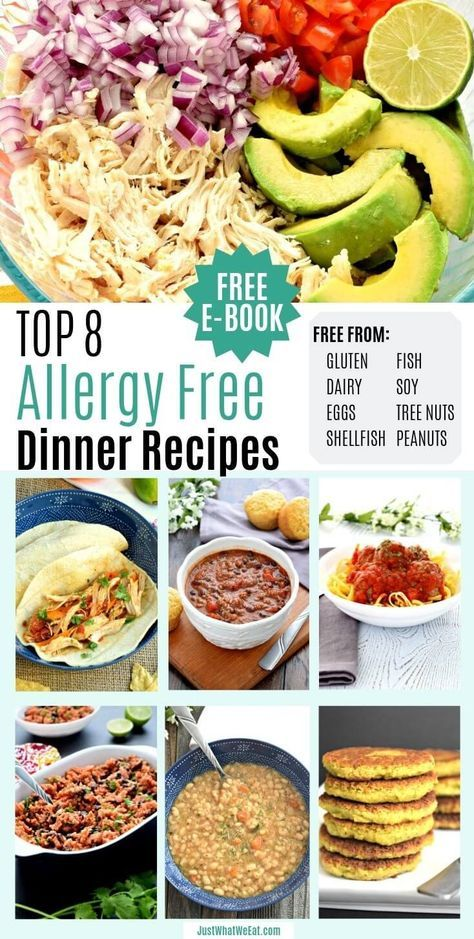 10 Amazing Top 8 Allergy Free Dinner Recipes - Recipes free from gluten, dairy, eggs, peanuts, tree Dairy Free Eggs, Dairy Free Diet, Gluten Dairy Free, Wheat Free Diet, Peanut Free Foods, Soy Free Foods, Allergies Alimentaires, Wheat Free Recipes, Dairy Free Nut Free Recipes
