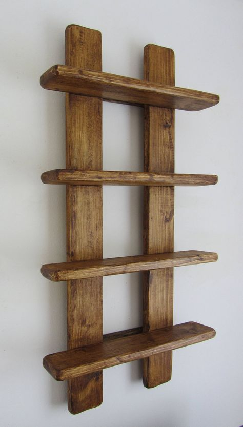 tall shabby chic rustic reclaimed wood 4 tier floating shelf / trinket shelves / display shelves / spice rack - Rustic old wood 4 tier floating display shelves. Handmade from recycled wood. Finished in antique b - Wooden Pallet Projects, Wood Pallet Furniture, Woodworking Projects Diy, Wooden Pallets, Diy Furniture, Modern Furniture, Recycled Timber Furniture, Handmade Wood Furniture, Furniture Design
