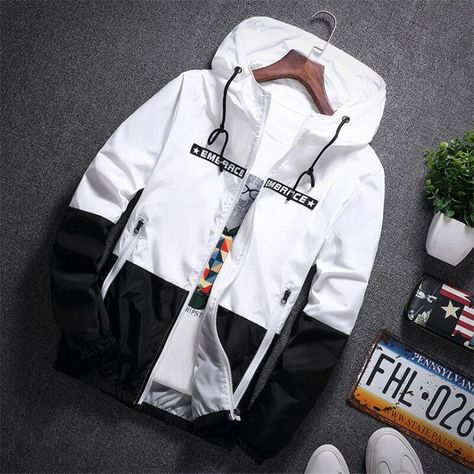 New Spring Autumn Bomber Hooded Jacket Men Casual Slim Patchwork Windbreaker Jacket Male Outwear Zipper Thin Coat Brand Clothing - Orange XXXL Bomber Jacket Men, Anorak Jacket, Hooded Jacket, Bomber Jackets, Mens Windbreaker, Men's Coats And Jackets, Streetwear Fashion, Men Casual, Sleeve Pattern