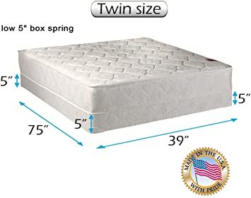 Legacy None Flip One Sided Twin Size Mattress And Low Profile Box Spring Set With Bed Frame Included Orthopedic Typ Box Spring Spring Set Queen Mattress Size Twin size bed with mattress included