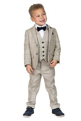 Kids Boys Waistcoat Wedding Party Tweed Check Vest Suit Formal Prom Suit Tuxedo