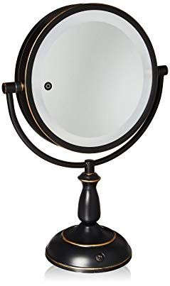 Ovente 8 5a Dual Sided Led Lighted Makeup Mirror With Timer Battery Or Cord Operated Smarttouch With 3 Light Makeup Mirror With Lights Mirror Makeup Mirror