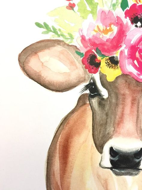 Judy the Cow floral cow floral crown PRINT | Etsy