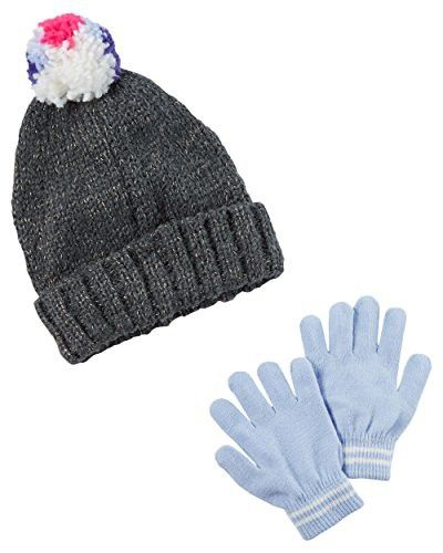 Carter/'s Girls Pom Pom Winter Hat and Glove Set Pink//Grey 4-8