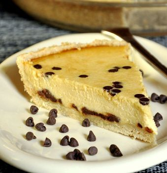 Cannoli Pie  15-oz ricotta cheese  14-oz sweetened condensed milk (1 can)  2 large eggs  1 tsp vanilla extract  1/4 tsp ground cinnamon  2 tsp lemon zest (optional)  1/2 cup miniature chocolate chips (sprinkle on top)  There is also a recipe for a Shortbread crust.