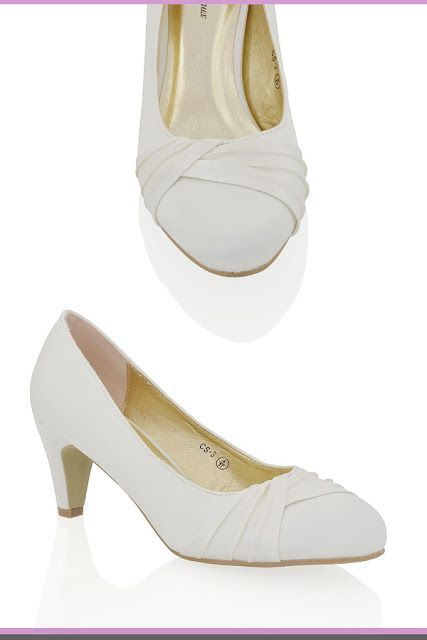 Essex Glam Womens Low Heel Bridal Party Slip On Pumps Court Shoes Ivory Wedding Shoes Bridal Shoes Low Heel Ivory Wedding Shoes Ivory Wedding Shoes Low Heel