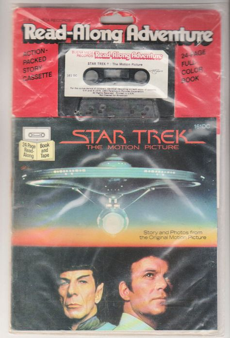 1983 Star Trek: The Motion Picture Read-Along Adventure Cassette Tape and Book 161DC. NM/NM, Factory Sealed. Buena Vista Records.
