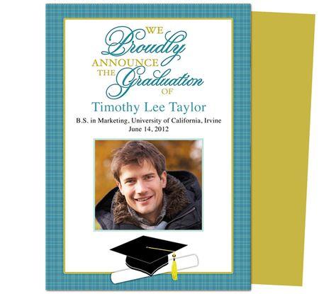 Graduation Announcements Templates : Printable DIY Senior Graduation Announcement Template