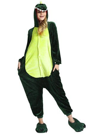 reine à la mode Pyjama Onesie Cospaly Party Fleece Costume (L, Dinosaure)