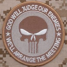 GOD WILL JUDGE OUR ENEMIES US ARMY MORALE PUNISHER TACTICAL FORSET HOOK PATCH
