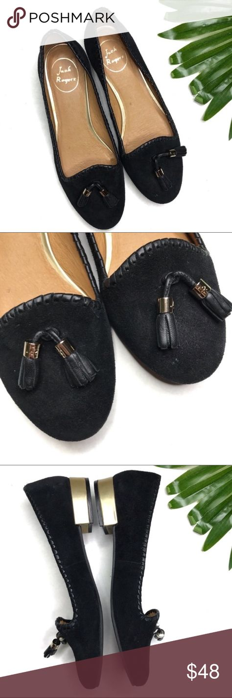 "JACK ROGERS | sz 8.5 black Gabrielle loafers Jack Rogers size 8.5 black suede Gabrielle tassel loafers In excellent condition! Show minimal wear as seen in photos. Heel is approximately 1"". Jack Rogers Shoes Flats & Loafers"
