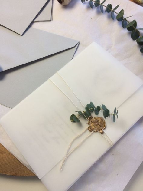 Wedding parade waxed monogrammed tracing paper & eucalyptustwo