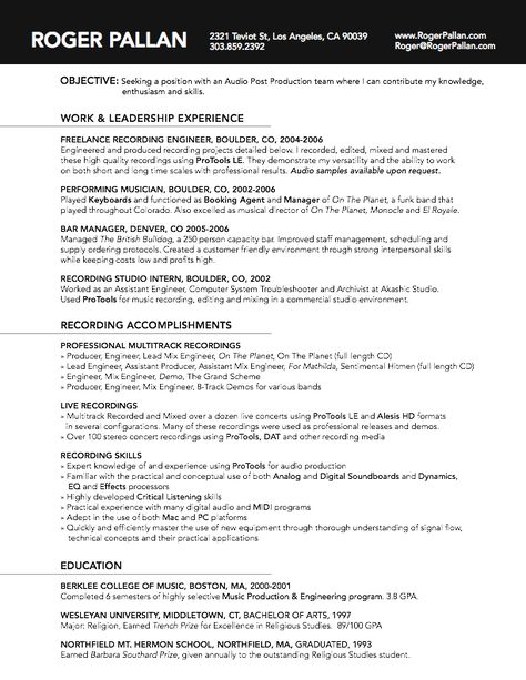 Activities, Rules, etc Remainder in document on computer - assistant recording engineer sample resume