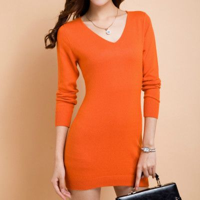 NEW V-neck Cashmere Sweater dress Ms. long section package hip ...