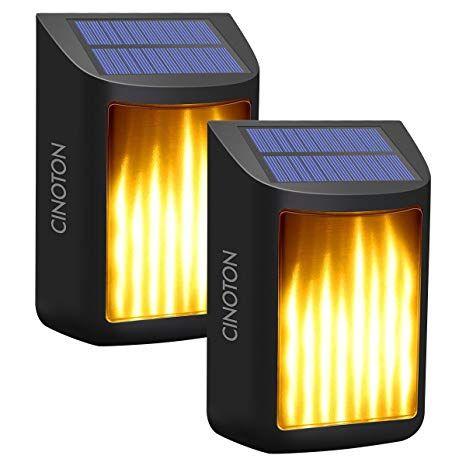 Cinoton Solar Wall Lights Waterproof Flickering Flame Lights Dark Sensor Step Deck Lamps Wall Mounted Night Solar Wall Lights Deck Lamps Motion Sensor Lights