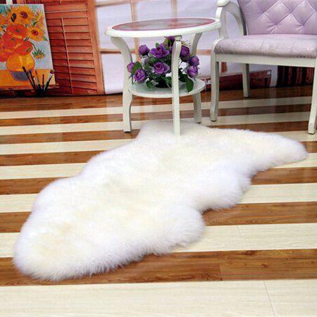 Meigar 252119593140 Soft Sheepskin Plain Fluffy Skin Faux Fur Fake Rug Cheap Washable Mat Small Rugs White White Small Rug Faux Sheepskin Rug Cushions On Sofa