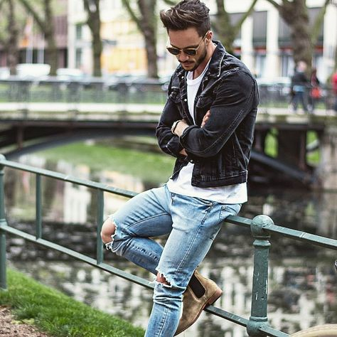 Boots, jeans with holes, leather jacket men's trends vêtements homme, style