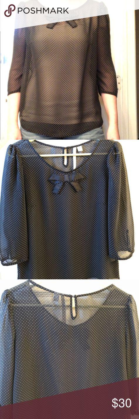 4891cce7 Sheer black 3/4 sleeved blouse w/ white polka dots Lauren Conrad sheer  blouse