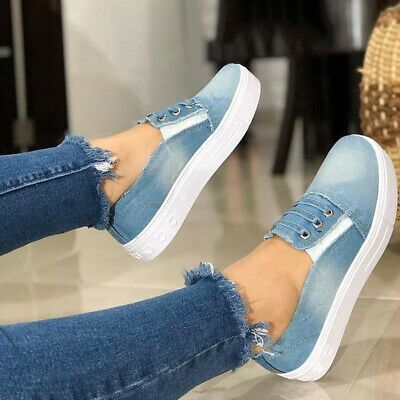 Details About Fashion Women Slip On Flat Denim Canvas Loafers