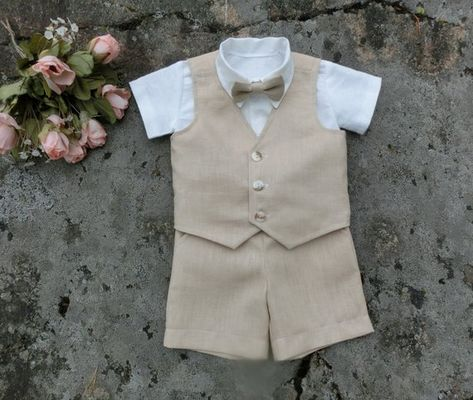 95b2fa18a9 Boys wedding outfit, linen shorts vest bow tie shirt. Rustic ring bearer  suit. Toddler boys baptism outfit. Toddler wedding beige linen suit