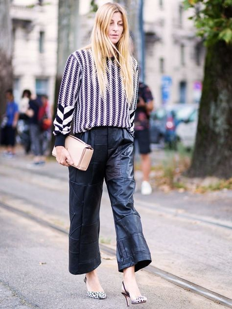 Tip of the Day: What to Wear With Baggy Leather Trousers - Street Style