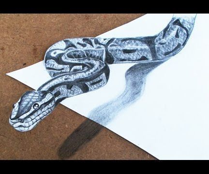 3d Drawings How To Make 3d Snake Step By Step With Images