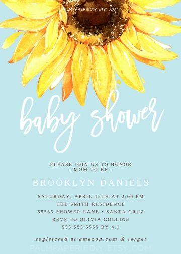 Sunflower Baby Shower Invitation Rustic Invitations Gender Neutral