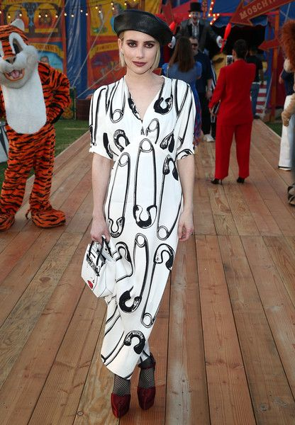 Actress Emma Roberts attends Moschino Spring/Summer 19 Menswear and Women's Resort Collection.