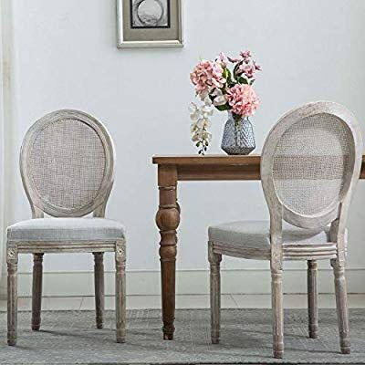 Amazon Com French Dining Chairs Distressed Elegant Tufted