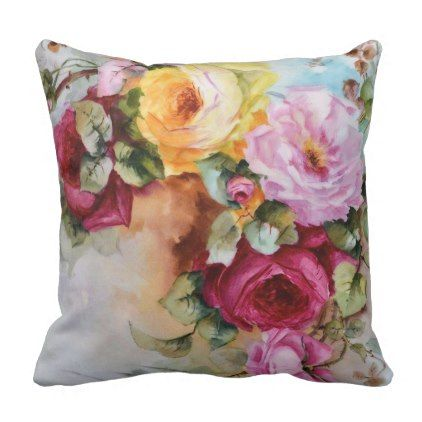 Antique Hand Painted Roses Pattern Throw Pillow Antique Gifts