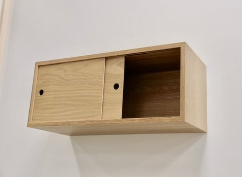 Floating Storage Cabinet With Sliding Doors Handmade In Solid Etsy In 2020 Floating Cabinets Sliding Doors Interior Sliding Doors