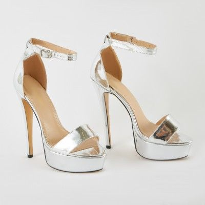 07dbcefacca Flyin' Platform Heels in Silver in 2019 | To draw | Heels, Shoes ...
