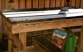 Potting Tables From Random Bits Gardening Painted Furniture Repurposing Upcycling Old Deck Boards Two Ceiling Fan Blade Holders 2 R Potting Tables Painted Furniture Ceiling Fan Blades