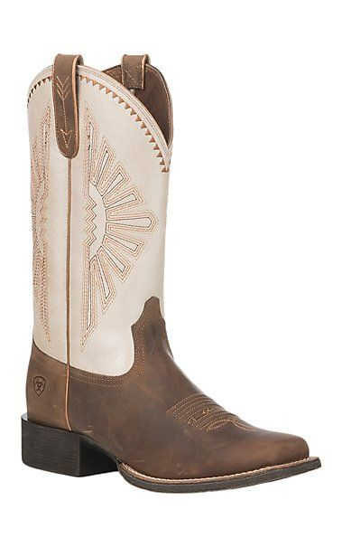 Ariat Women S Round Up Rio Distressed Brown And White Wide Square Toe Western Boot Boots Ariat Boots Womens Cute Cowgirl Boots