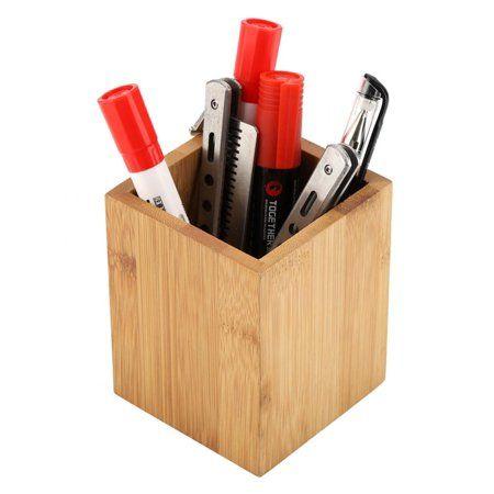 Ashata Bamboo Pen Holder Office School Desk Pencils Storage Organizer Stand Stationery Supply Bamboo Penci Pencil Storage Pen Organization Stationery Supplies