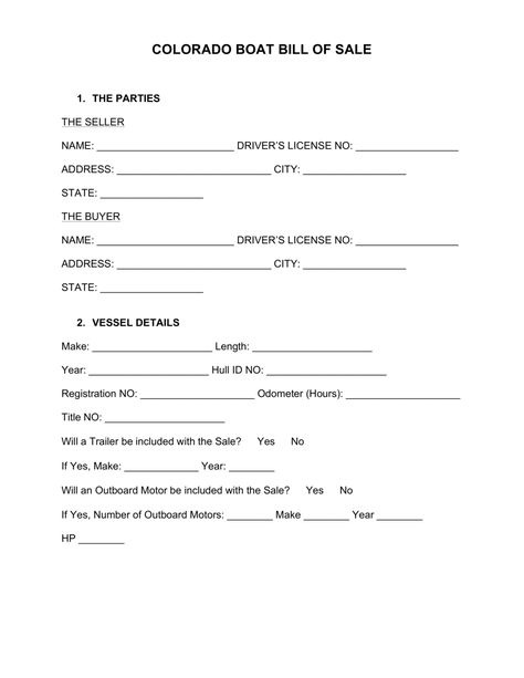 Free Colorado Boat Bill of Sale Form - Word PDF eForms u2013 Free - sample firearm bill of sale