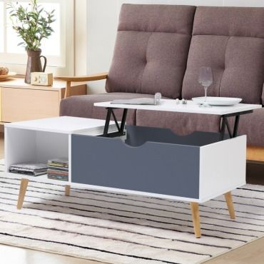 Table Basse Effie Plateau Relevable Bois Blanc Et Gris Vente De Id Market Conforama Table Basse Table Basse Blanche Table Basse Chene