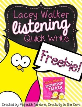 This freebie goes along with the book Lacey Walker, Nonstop Talker by Christianne C. Jones. It is an adorable little story about an owl who likes to talk, but soon learns that listening is important too. A link to the digital read aloud on YouTube is provided in this freebie. Three quick writes about listening are included (You choose which fits your class best!): I listen when... It is important to listen when... I listen and show respect when...