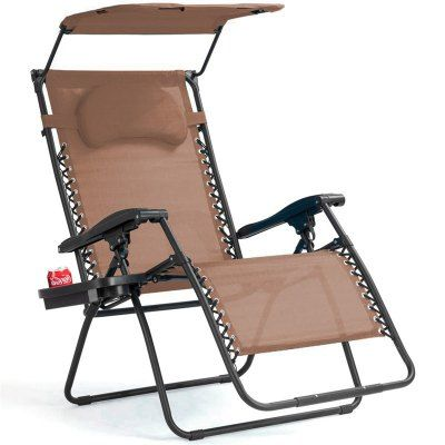 Folding Recliner Lounge Chair Shade Canopy Cup Holder Beach Relax