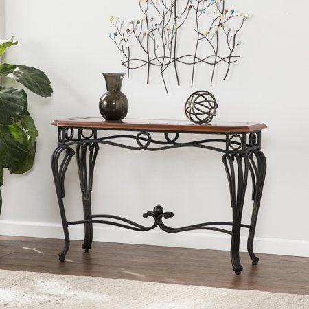 Abeerdan Traditional Sofa Table Dark Cherry Metal Glass Walmart Com Sofa Table Sofa Tables For Sale Fireplace Furniture