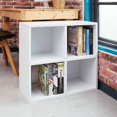 Under Desk Storage 4 Cubby Bookshelf Eco Friendly And Formaldehyde Free White Lifetime Guarantee Under Desk Storage Bookshelf Desk Cool Bookshelves