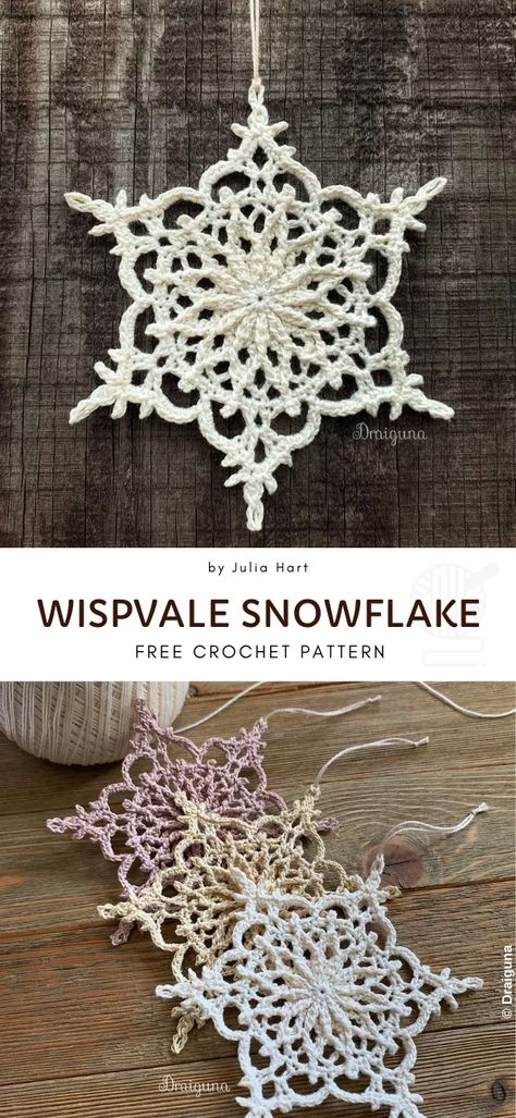 Snowflakes Crochet Decorations for Winter History of Knitting Wool spinning, weaving and stitching careers such as BC. Free Crochet Snowflake Patterns, Crochet Stars, Christmas Crochet Patterns, Holiday Crochet, Crochet Snowflakes, Doily Patterns, Thread Crochet, Pattern Ideas, Crochet Angels