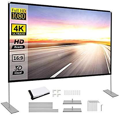 Amazon Com Projector Screen With Stand 120 Inch Portable Projection Screen 16 9 4k Hd Rear Fro In 2020 Portable Projector Screen Projector Screen Outdoor Movie Screen