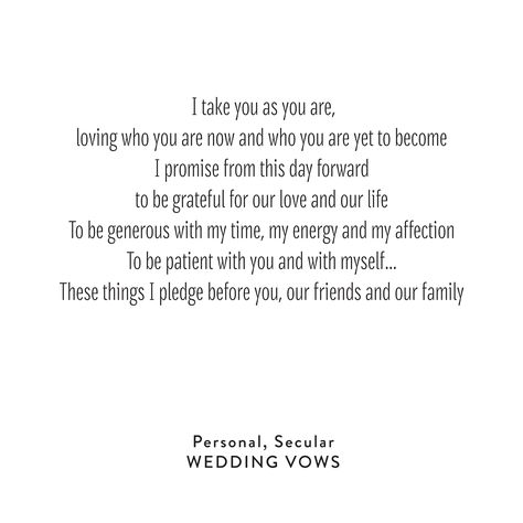 Wedding Vows :: Personal, Secular