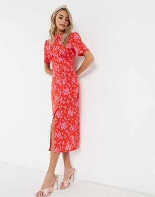 Asos Design Midi Tea Dress With Buttons In Red And Pink Floral Print Asos Tea Dress Floral Lace Maxi Dress Asos Designs