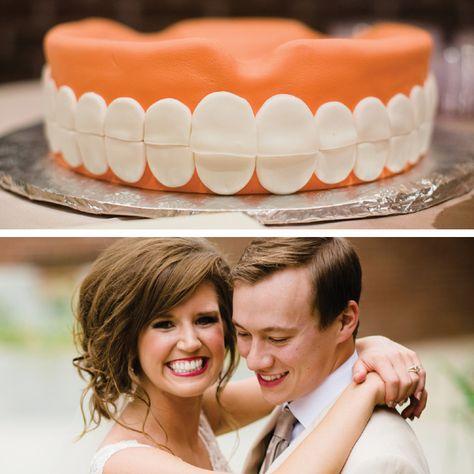 creative groom's cake - dentist cake - teeth cake - unique wedding cakes @Drew Cason Photography http://www.arkansasbride.com/blog/post/96571/style-and-elegance-crystallize-lauren-jackson-and-stephen-raines-real-little-rock-wedding
