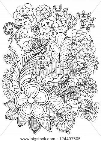 Poster Of Fantasy Flowers Coloring Page Hand Drawn Doodle Floral Patterned Vector Illustr Pattern Coloring Pages Flower Coloring Pages Mandala Coloring Pages