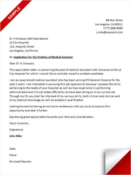 117 best Cover Letter Sample images on Pinterest Bartenders - medical assistant resume cover letter